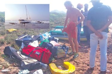 Damaged parts of the yacht fished out of the sea. Pictures by Lunama Group Corr.