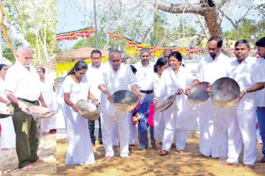 The Bank of Ceylon Chairman, Ronald C. Perera, a member of the Director Board Charitha Nissanka Wijewardane, the General Manager D.M. Gunasekera and members of the Corporate and Executive Management at the sand strewing ceremony.