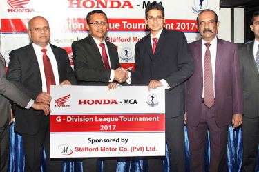 Fifty two teams playing in 08 groups will be seen in action, engaged in 159 half day matches in the 7th Stafford Motor Co. Ltd., sponsored, 'Honda' Trophy – MCA 'G' division 25-Over League Tournament 2017. The official sponsorship handing over ceremony was held on May 3 evening at the MCA. MD/COO, Stafford Motor Co. Ltd., Charaka Perera (03 rd from left) handing over the sponsorship cheque to the President /MCA, Niran MAhawatte (03rd from right)