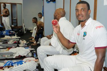 West Indies fast bowler Shannon Gabriel poses with the match ball inside the dressing room after bowling his team to a 106-run win over Pakistan in the second Test at Bridgetown Barbados on Thursday.
