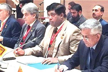 Finance Minister Ravi Karunanayake, Finance Ministry  Secretary Dr. R. H. S. Samaratunga in Yokohama, Japan.