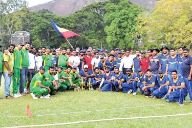Players and officials of the 2003 Old Boys' batches of Maliyadeva College and St Anne's College with their trophies