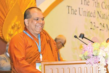 Ven. Dr. Thampalawela Dhammaratana Thero, PhD (Sorbonne), UNESCO Consultant, Paris, France addressing the UN
