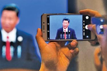 China's President Xi Jinping speaks at the opening ceremony of the Belt and Road Forum, in Beijing yesterday.- AFP