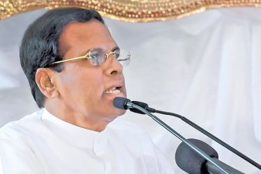 President Maithripala Sirisena addressing the concluding ceremony of the 14th UN International Vesak Festival at the Dalada Maligawa premises in Kandy on Sunday