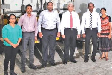 Representatives of Finagle Lanka L to R: Manager Quality Assurance Charuni Manthriratne ,  Factory Manager Namadeva Jayaweera, Accountant  Chandima Fernando,  Managing Director Mahinda Ranasinghe, Head of Sales and Marketing Buddhi Rathnayake,  and Manager Research and Development S. Gunasekara