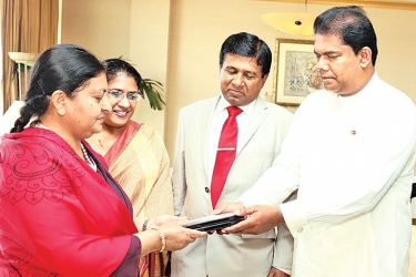 Parliamentary Reforms and Media Minister Gayantha Karunathilake presented an album to Nepal President Bidhya Devi Bhandari who participated in the closing ceremony of the International Vesak Day Celebrations in Kandy, at the BIA before her departure. The album contained pictures of her visit to Sri Lanka. Minister Wijayedasa Rajapakshe and Thalatha Athukorale were also present.