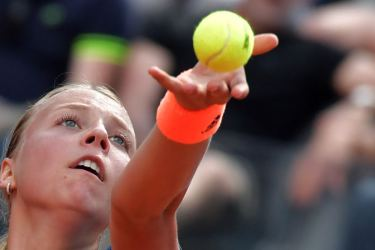 Anett Kontaveit serves against Angelique Kerber during the WTA Tennis Open tournament at the Foro Italico, on May 17 in Rome.