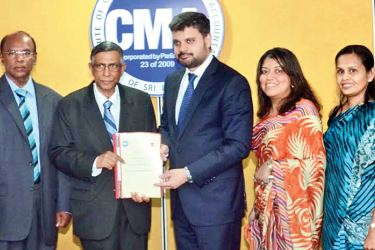 H.M Hennayake Bandara, Vice President CMA, Professor Lakshman R. Watawala, President CMA, Rehan Uddin, Head of Education for the MENASA Region ACCA, Nilusha Ranasinghe, Head of ACCA Sri Lanka, and Dilani Perera, Business Relationship Manager ACCA Sri Lanka after the signing of the MoU