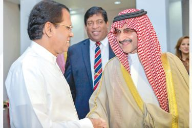 Saudi Prince Alwaleed bin Talal bin Abdulaziz al Saud called on President Maithripala Sirisena at the Presidential Secretariat yesterday. Picture by Sudath Silva