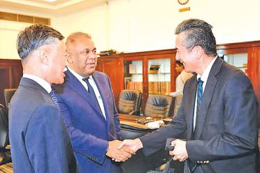 Finance Minister Mangala Samaraweera with Japanese Ambassador to Sri Lanka, Kenichi Suganuma