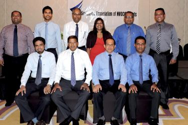 The Executive Committee of SLANA: A. L. M. Thahir, Treasurer, Capt. A. V. Rajendra, Chairman, Prasad Jinadasa, Vice Chairman, Minnaz Riyal, Secretary, Standing  L - R : Harsha De Silva, Mclarens Logistics, Ana Senanayake, Perma  Shipping, Nalin Abeysekera, Pan Oceanic International, Swabha  Wickramasinghe, World Link Shipping, Tharanga Perera, Clarion  Shipping, Raj Rasiah, Smart Marine Lanka at the event.