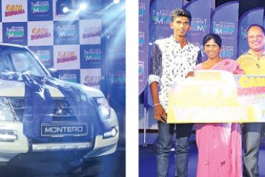 [Left] Mobitel Cash Bonanza Montero Extravaganza May 2017 Winner RasikaDilhani Perera and Family from Piliyandala with her brand new Montero from Mobitel. [Right]  Mobitel Cash Bonanza Montero Extravaganza April 2017 Winner Chitra Kanthi and Family from Kuruwita with her brand new Montero from Mobitel.