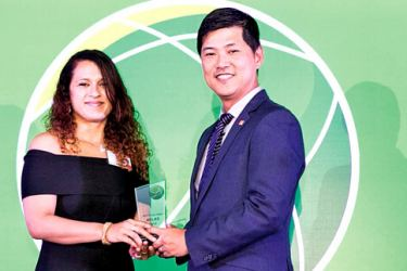 Catriona Jayasundera, Head of Marketing and Commercial at CICT  receives the award in Singapore