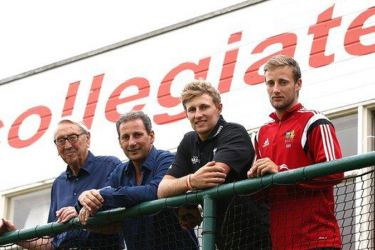 Joe Root with grandfather Don, father Matt and brother Billy at Sheffield Collegiate Cricket Club.