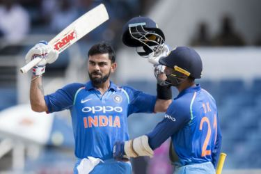 Indian captain Virat Kohli celebrates his 28th ODI century in the fifth and final match against West Indies at Kingston, Jamaica on Thursday.