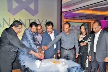 Charmian, LAUGFS, W. K. Wegapitiya and Managing Director, Thilak De Silva and other officials at the celebrations of the first anniversary of its second hotel, Anantaya Passikuda. Picture by Thushara Fernando