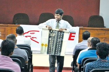 Participants at the road safety awareness programme conducted at the BOI auditorium in Katunayake.