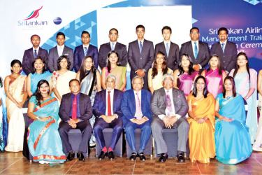 Chairman SriLankan Airlines Ajith Dias and Chief Executive Officer Capt. Suren Ratwatte along with senior members of the Human Resources Department of SriLankan with the Management Trainees.