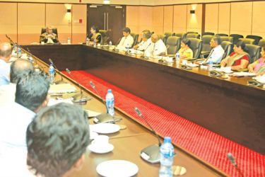 Finance and Media Minister Mangala Samaraweera with representatives of the Inland Revenue Trade  Unions Joint Committee