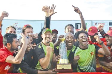 Zimbabwe has every reason to celebrate their maiden ODI series win against Sri Lanka. AFP