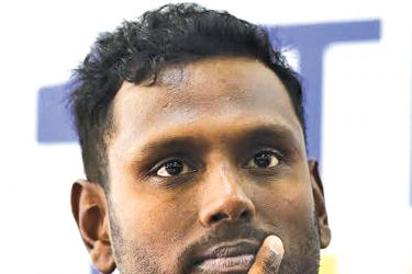 Angelo Mathews at yesterday's press conference where he announced his retirement as captain from all three formats of the game. AFP