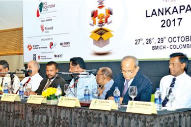 Sri Lanka Institute of Packaging President Rohan Victoria , Minister of Industry and Commerce Rishard Bathudeen , Sri Lanka Institute of Packaging Secretary Upul Abeywardane , Treasurer, Sunil Costha Keynote Speaker at the Lankapack media launch Kithsiri Wijesundara and other officials at the media launch of Lankapack 2017. Picture by Saman Mendis