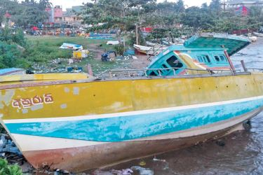 Abandoned boats at the Beruwala Fisheries Harbour. Pictures by Kalutara District Roving Corr
