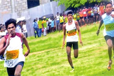 The most outstanding men's athlete of the Beruwala divisional secretariat. M.A. Sangeeth Malshan in action (032)(100m) (in front). Sangeeth Malshan clocked 11.1 sec in 100m and 23.9 sec in 200m events, and was placed first.