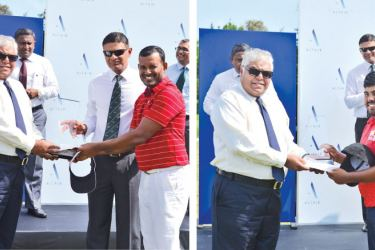Altair Director Pradeep Moraes (left extreme) and RCGC captain Ranil Pathirane handing over Altair-RCGC Open Golf Championship trophy to the winner N. Thangarajah.{Right:} Altair-RCGC Open Golf Championship runner-up Mithun Perera receiving the trophy from the Altair Director Pradeep Moraes