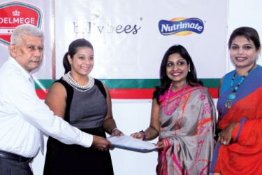 Nadeesha Abeyrathne, GM, Delmege Consumer, Rohanthi Wijewickrama, Founder/CEO, Quebee Den (Pvt) Ltd and Dinusha Bhaskaran, CEO, Vallibel ONE at the event after signing the agreement.