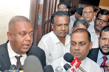 Finance and Media Minister Mangala Samaraweera, Fisheries and Aquatic Resources Development Minister Mahinda Amaraweera and Industry and Commerce Minister Rishad Bathiudeen speaking to the media after the Cabinet meeting yesterday.