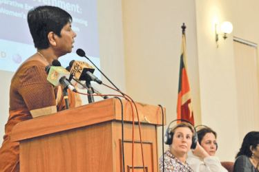 City Planning and Water Supply State Minister Dr. Sudarshini Fernandopulle and Member of the Sectoral Oversight Committee on Women and Gender, and the Women Parliamentarians' Caucus addressing the forum held at the Lighthouse, Lakshman Kadirgamar Institute on July 26.