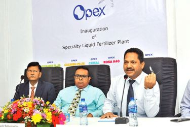 Onesh Subasinghe, Managing Director, Abhijit Bose Director/CEO and other officials at the launch yesterday Picture by Thushara Fernando