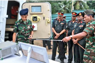 Army Commander Lieutenant General Mahesh Senanayake inspecting Combat Convoy Equipment