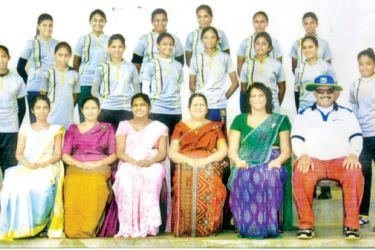 Girls High School, Mount Lavinia Cricket Pool 2017. Seated L/R – Miss Lakmali (Teacher in Charge), Mrs Nirosha, Mrs Heenpalla (vice principal), Mrs Gayani Princely (Principal), Mrs Nelka (PTI), Lester Hanibal (coach). Middle row standing L/R – N M Vithanage (captain), Krisni Vaas, Lakshani Dilrukshi, Anuradha Wijerathne, Sathsarani Silva, Savindi Peiris, Preethika Sewwandi, M M Silva (vice captain). Back row standing L/R – Osadi Abeysinghe, Aparna Dayanjali, Gayathri Kuruppu, I M Singh, Rashmi Silva, Sandun