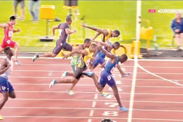 The finish of the men's 100m final where Justin Gatlin beats Usain Bolt in the men's 100m final at the World Athletic Championships at London Stadium on Saturday.