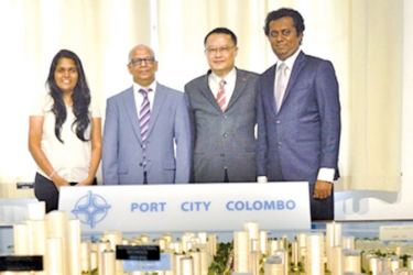 Malithi Herath (MTI Project Manager for idea2fund), Hilmy Cader (CEO MTI Consulting),Liang Thow Ming (Chief Sales and Marketing Officer, CHEC Port City Colombo)  and Kassapa Senarath (Head of Public Relations, CHEC Port City Colombo)
