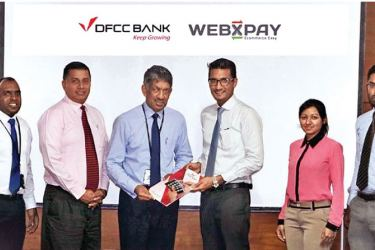 Assistant Manager Pradeepan, VP Alternate Channels and Cash Management Denver Lewis, DFCC Bank CEO Arjun Fernando and WEBXPAY Founder/CEO Omar Sahib, Project Manager Induni Amarasena and VP Business Strategy Aaqib Afzal