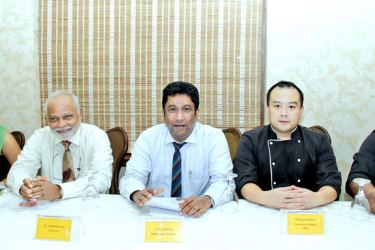 Fenghuang Lou officials at the media briefing. Pictures by Saliya Rupasinghe