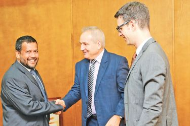 Minister of Industry and Commerce Rishad Bathiudeen  and Ambassador of Switzerland to Sri Lanka Heinz Walker-Nederkoorn at the Ministry of Industry and Commerce recently