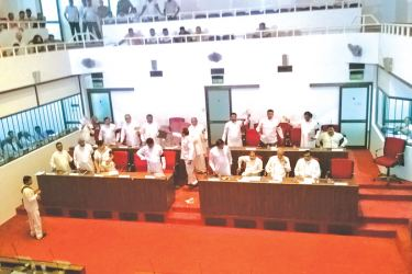 The North Central Provincial Council meeting which ended up in turmoil yesterday. (Picture by Anuradhapura Central Group Corr)