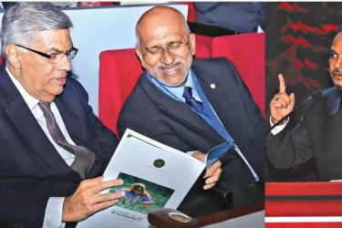 Prime Minister Ranil Wickremesinghe with Chairman Sri Lanka Tea Traders Associations Anslem Perera. Inset: Plantation Industries Minister Navin Dissanayake speaking at the event.