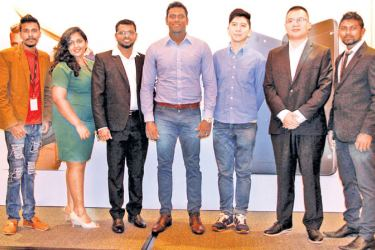 Angelo Mathews with the OPPO team.