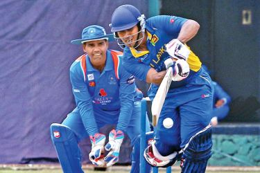 Top scorer for Sri Lanka Eshan Arasaratnam plays a shot Picture by Prince Gunasekera