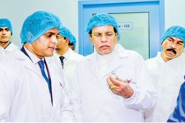 President Maithripala Sirisena at the opening of Navesta Pharmaceuticals in Hoarana on Wednesday