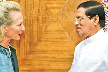 Acting US Assistant Secretary of State Alice Wells called on President  Maithripala Sirisena on Wednesday. Picture courtesy President's Media Division