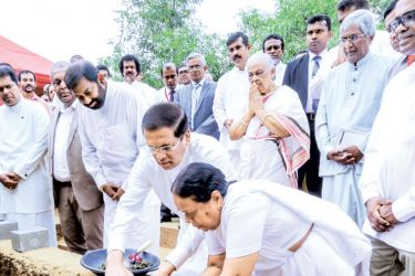 President Maithripala Sirisena laying the foundation stone with Nanda Malini