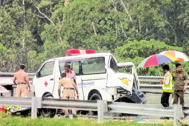 The ambulance carrying STF personnel that veered off the southern Expressway.