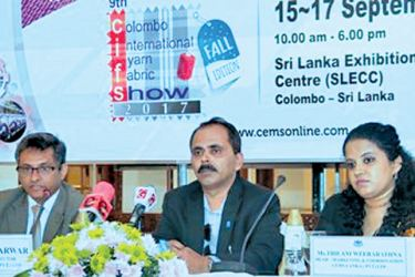 Rohan Masakorala, CEO of Shippers Academy, Ejaz Sarwar, Country Director of CEMS Lanka, Thilani Weerarathna, Head of Marketing and Coordination of CEMS Lanka (Pvt) Ltd. Addressing the press briefing held at Kingsbury Hotel for 9th Colombo International Yarn and Fabric Show, Home Tex Sri Lanka International Expo, second Sri Lanka International Airfreight & Shipping Logistics Expo 2017 going to be held from September 15 - 17 at Sri Lanka Exhibition and Convention Centre (SLECC). Picture by Saliya Rupasinghe